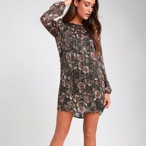 Black Floral Print Long Sleeve Shift Dress